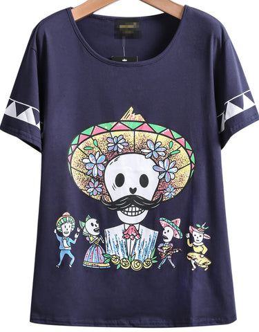 Navy Short Sleeve Zombie Print Loose T-Shirt
