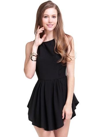 Black Sleeveless Asymmetrical Pleated Flare Dress