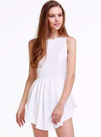 White Sleeveless Asymmetrical Pleated Flare Dress