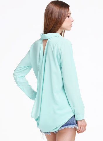 Green Long Sleeve Backless Loose Chiffon Blouse