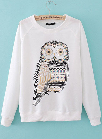 White Long Sleeve Bead Owl Loose T-Shirt