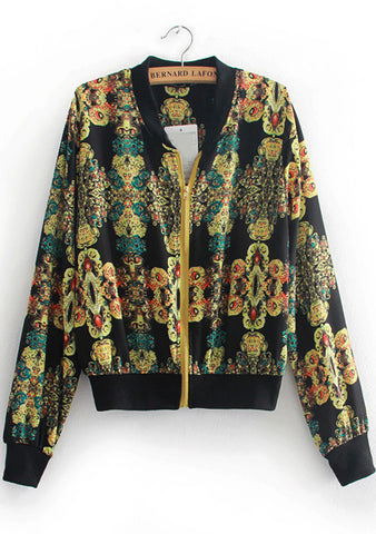 Black Long Sleeve Vintage Floral Jacket