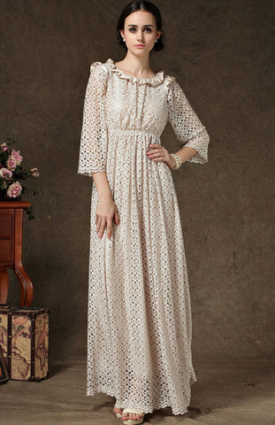 Apricot Long Sleeve Hollow Lace Maxi Dress