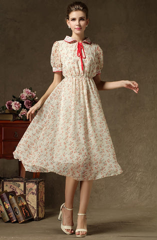 Apricot Lapel Short Sleeve Floral Chiffon Dress