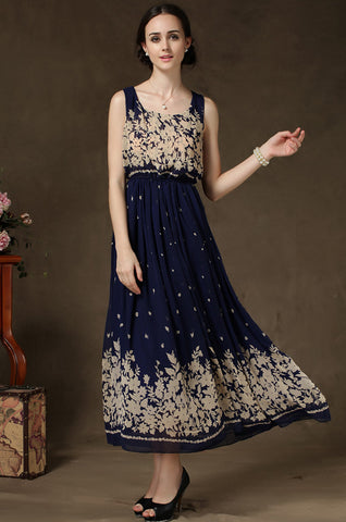 Navy Sleeveless Floral Pleated Chiffon Dress