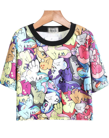Multicolor Short Sleeve Cartoon Horse Print T-Shirt