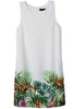 White Sleeveless Leaves Print Slim Dress