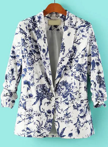 Blue White Notch Lapel Floral Fitted Blazer