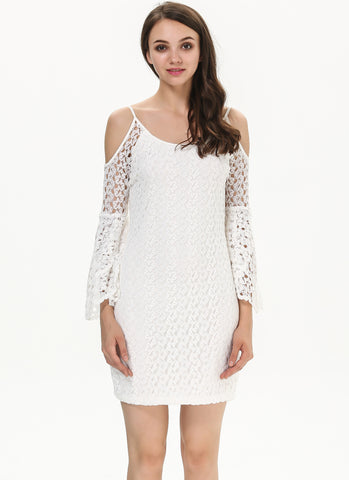 White Off the Shoulder Embroidered Lace Bodycon Dress