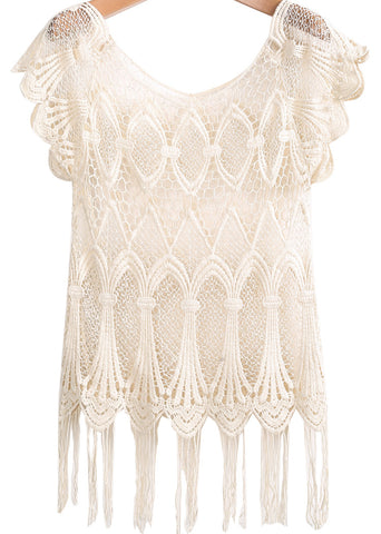 Apricot Short Sleeve Hollow Tassel Lace Vest