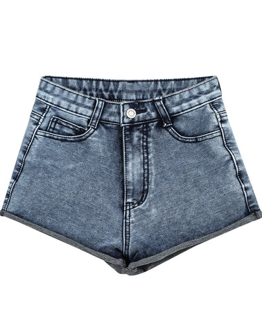Blue High Waist Flange Denim Shorts