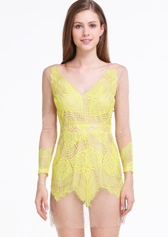 Yellow V Neck Long Sleeve Backless Lace Dress