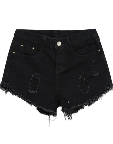 Black Vintage Ripped Fringe Denim Shorts