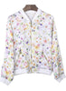 White Long Sleeve Floral Pockets Crop Jacket