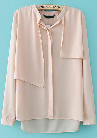 Pink Long Sleeve Cape Dipped Hem Blouse