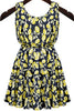 Yellow and Navy Sleevelss Florals Print Dress