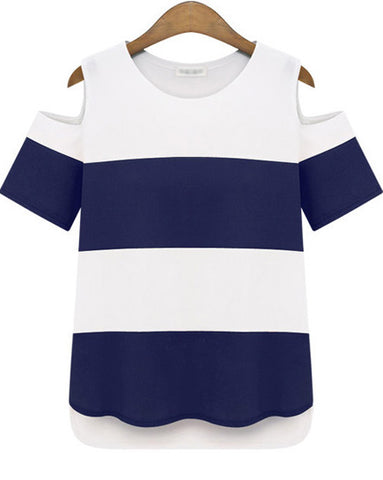 Dark Blue and White Cold Shoulder Striped T-shirt