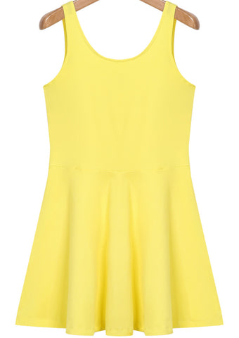 Yellow Sleeveless Simple Ruffle Tank Dress