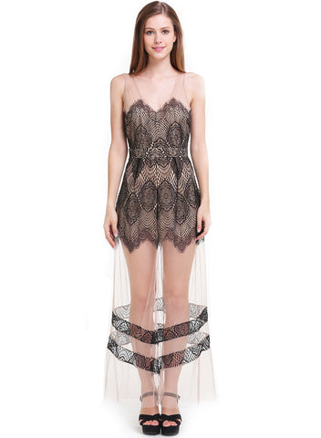Black Sleeveless V-neck Sheer Mesh Crochet Maxi Dress