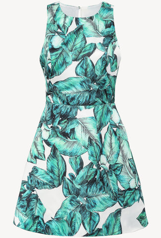 Green Sleeveless Leaves Print Backless Dress
