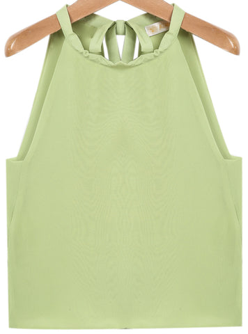 Green Sleeveless Bandage Chiffon Vest