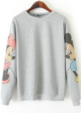 Grey Long Sleeve Mickey Print Loose Sweatshirt