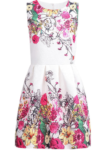 White Sleeveless Red Floral Loose Dress