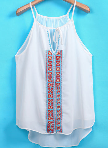 White Spaghetti Strap Embroidered Chiffon Blouse