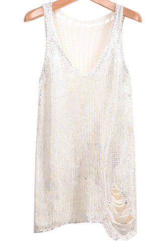 White Sleeveless Hollow Ripped Knit Top