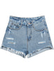 Blue Fringe Ripped Straight Denim Shorts