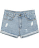 Light Blue Ripped Flange Denim Shorts