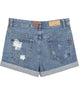 Blue Ripped Flange Denim Shorts