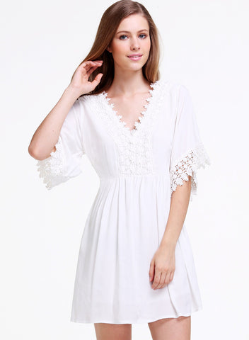 White V Neck Lace Embroidered Loose Dress
