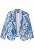 Blue Lapel Long Sleeve Floral Fitted Blazer
