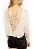 Beige Long Sleeve Floral Crochet Crop T-Shirt