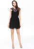 Black Sleeveless Contrast Lace Neckline Backless Dress