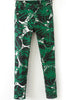 Green Mid Waist Leaves Print Pant