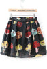 Black Cartoon Mushroom Print Skirt