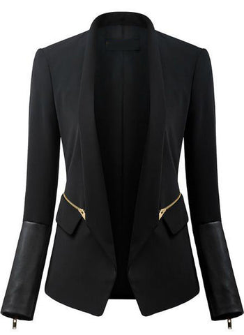 Black Long Sleeve Zipper Pockets Blazer