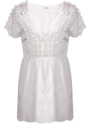White Short Sleeve V Neck Floral Crochet Dress