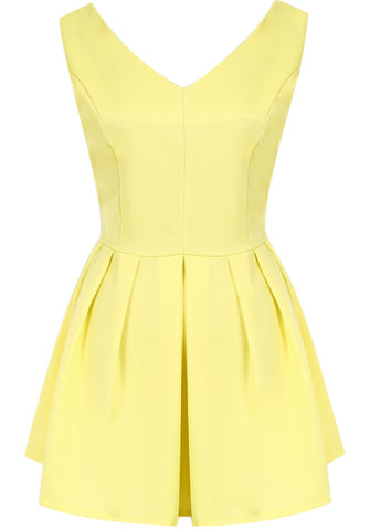 Yellow V Neck Sleeveless Bow Pleated Dress