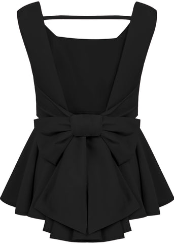 Black Sleeveless Backless Bow Pleated Top