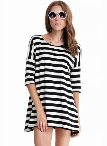 Black and White Striped Batwing Long Sleeve T-shirt
