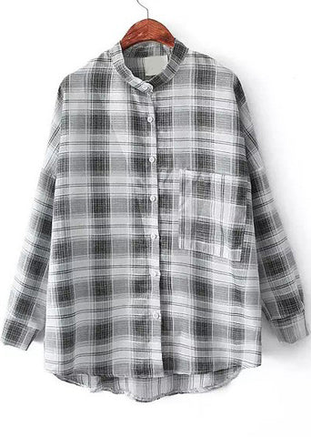 Black Stand Collar Plaid Pockets Loose Blouse