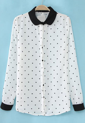 White Contrast Lapel Long Sleeve Polka Dot Blouse