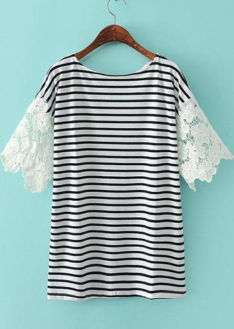 White Contrast Lace Short Sleeve Loose T-Shirt