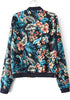 Black Stand Collar Long Sleeve Floral Crop Jacket