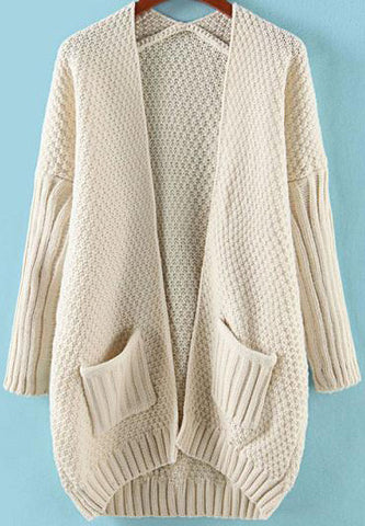 Apricot Long Sleeve Pockets Loose Knit Cardigan
