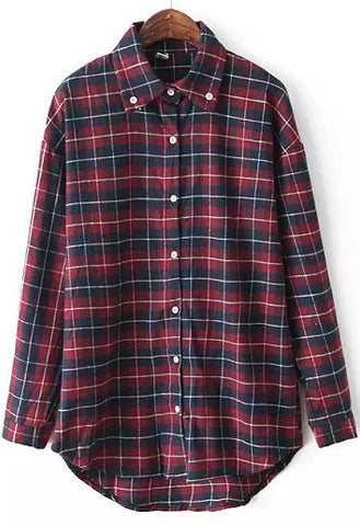 Red Lapel Long Sleeve Plaid Buttons Blouse