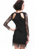 Black Long Sleeve Crochet Cut Out Asymmetric Hem Dress